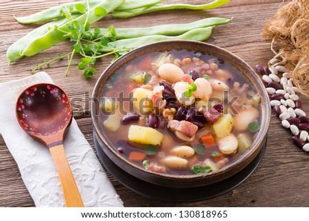 beans soup - stock photo