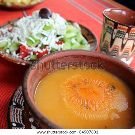 Beans soup and salad - stock photo