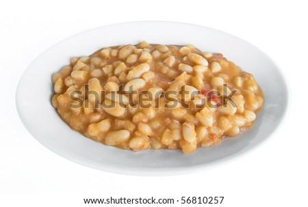 Beans soup on white dish. - stock photo
