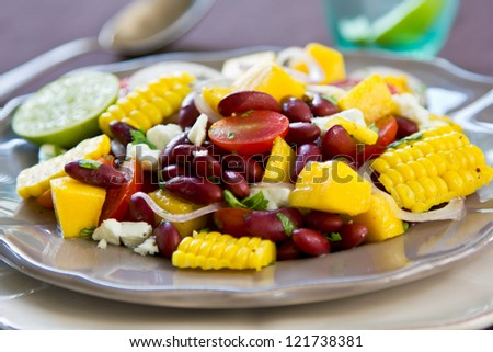 Beans with Mango,Sweetcorn and Feta cheese salad