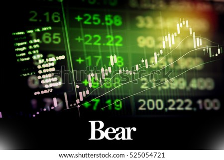 Bear - Abstract digital information to represent Business&Financial as concept. The word Bear is a part of stock market vocabulary in stock photo