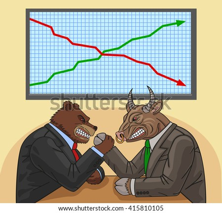 Bear and bull fighting each other for financial impact. - stock photo