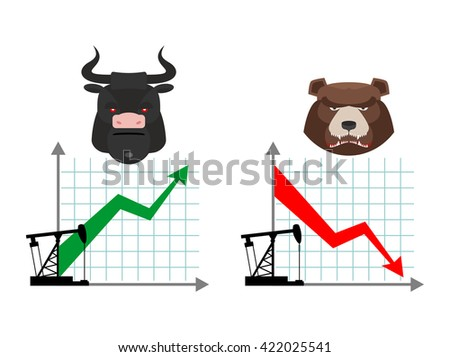 Bear and bull. Quotations of oil production. Oil rig. Depreciation of petroleum. Global rise in petrol prices. Green up arrow. Traders bulls. Red down arrow traders bears - stock photo