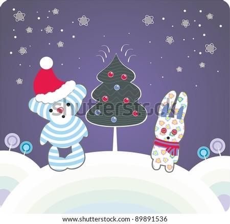 Bear and rabbit near the christmas tree - stock photo