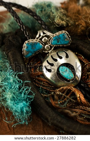 Bear claw silver and turquoise. - stock photo