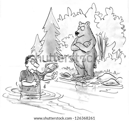 Bear coach watches as man catches fish. - stock photo