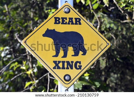 Bear crossing sign on the road - stock photo