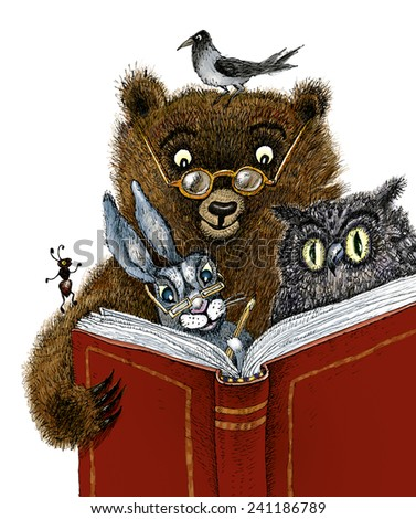 Bear, hare, owl, crow  and ant read the book - stock photo