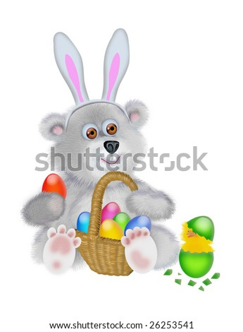 Bear in the suit of the Easter rabbit with the small basket of eggs