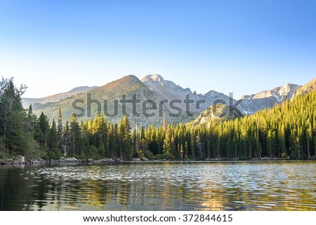 Bear Lake at sunrise. Rocky Mountain National Park, Colorado, United States - stock photo