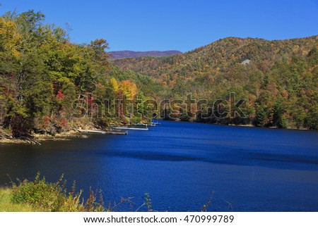 Bear Lake in Tuckasegee, North Carolina During the Autumn Season