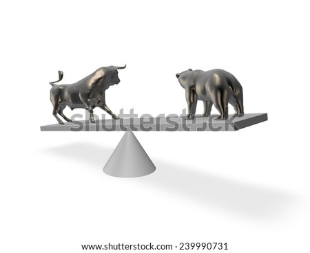 Bear market exchange abstract financial concept with bull and bear. - stock photo