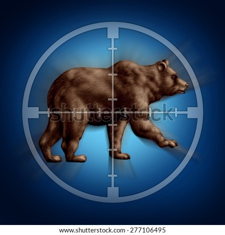 Bear market target business concept as an icon of targeting investor doubt and lack of confidence in stock trading predicting future price decreases as a financial icon for conservative investing. - stock photo