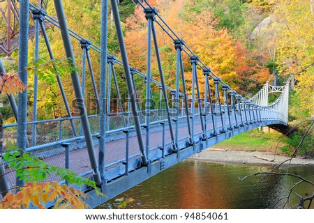 Bear Mountain with Hudson River and bridge in Autumn with colorful foliage. - stock photo