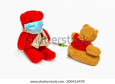 Bear playing a doctor isolated on white background. - stock photo