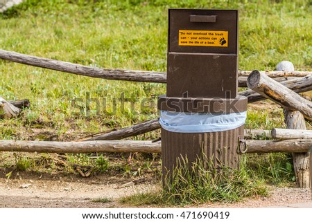Bear proof trash can in rocky mountains national park colorado