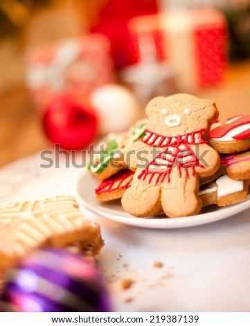 Bear shaped Christmas cookie - shallow DOF. - stock photo