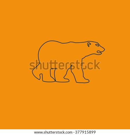 Bear silhouette. Flat illustration. - stock photo