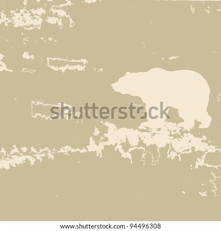 bear silhouette on brown background
