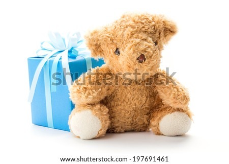 Bear toy with gift box for christmas