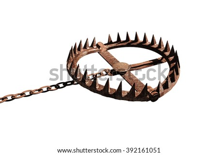 bear trap isolated on white background - stock photo