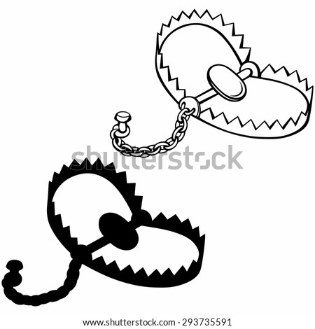 Bear trap. Isolated on white background. Raster version - stock photo