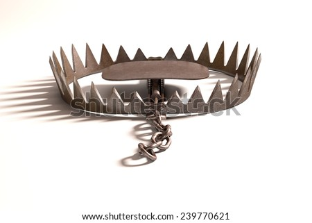 Bear trap on white background with clipping path included. - stock photo