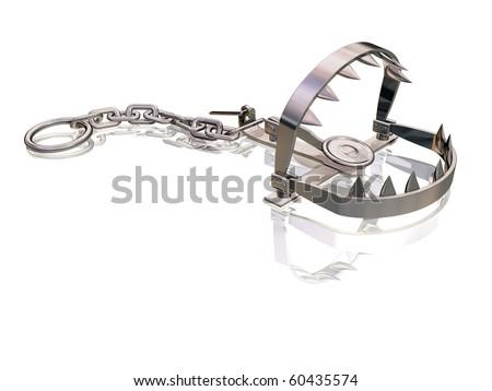 Bear trap snapping its sharp jagged teeth - stock photo