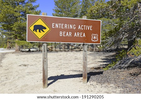 Bear Warning Sign in the Wilderness - stock photo