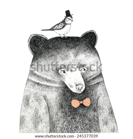 bear with a bird on his head - pencil drawing - stock photo