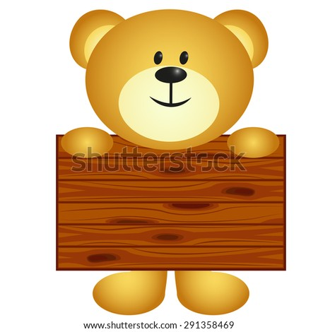 Bear with board - stock photo