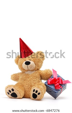 Bear with gift box - stock photo