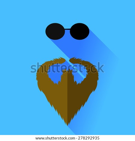 Beard and Glasses Isolated on Blue Background - stock photo
