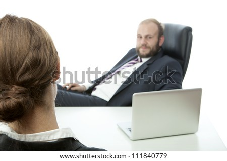 beard business man brunette woman at desk ignore