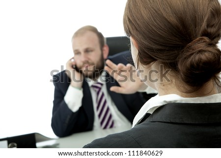 beard business man brunette woman at desk sign be quiet - stock photo