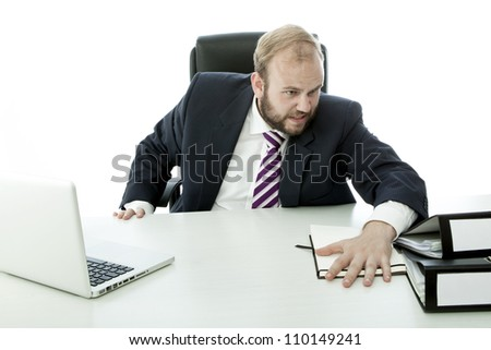 beard business man is angry and throw documents desk - stock photo