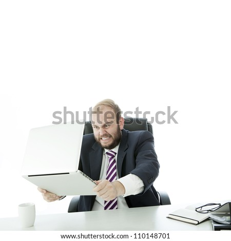 beard business man want crash laptop - stock photo