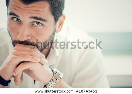 beard businessman worried thoughtful at office - stock photo