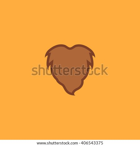 Beard Flat icon on color background. Simple colorful pictogram - stock photo