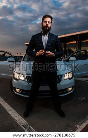 Beard Men Hipster Car Parking Airport Stock Photo 459395389