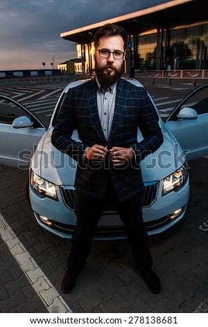 Beard Men Hipster Car Parking Airport Stock Photo 459395380