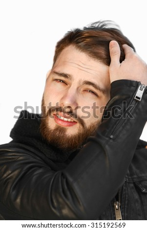 Bearded brutal hipster man isolated on white