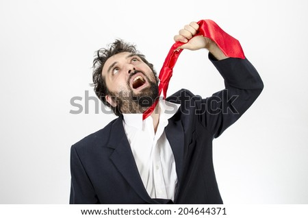 Bearded Businessman Hanging Himself With A Red Tie In A Moment Of Despair - Isolated On White  - stock photo