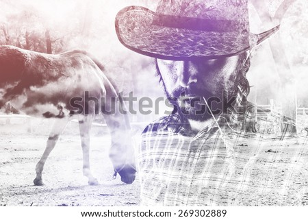Bearded Cowboy Farmer wearing Straw Hat on Western American Horse Ranch, Double Exposure Image. - stock photo