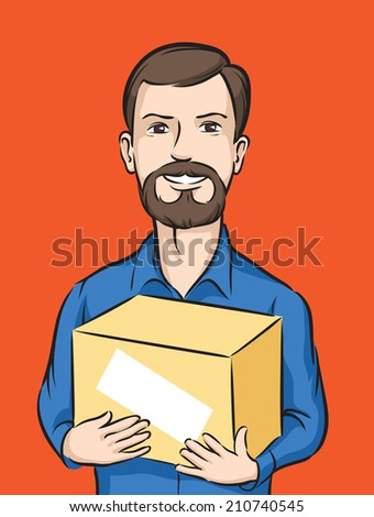 bearded delivery man with box - stock photo