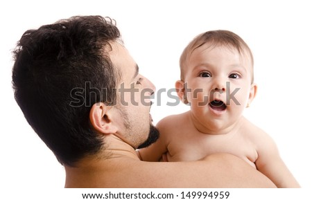Bearded father and little cute baby on shoulder. - stock photo
