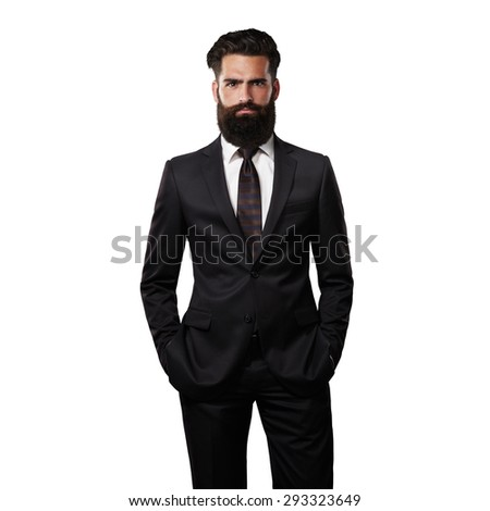 Bearded handsome man wearing suit - stock photo
