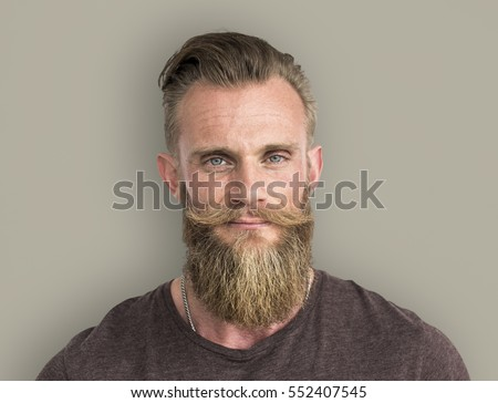 Bearded Hipster Man Smiling Portrait