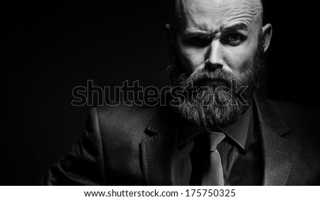 bearded in a suit and tie, businessman - stock photo