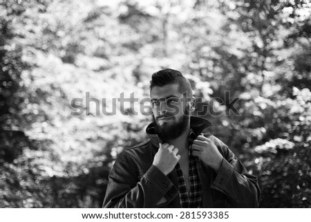 bearded male fashion model black and white photography